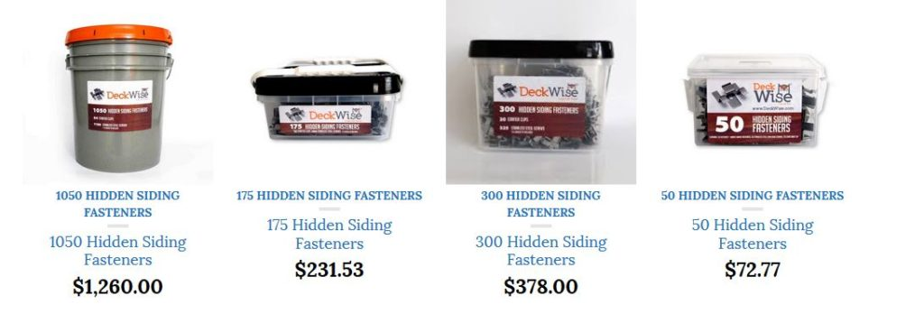 DECKWISE HIDDEN SIDING FASTENER KITS